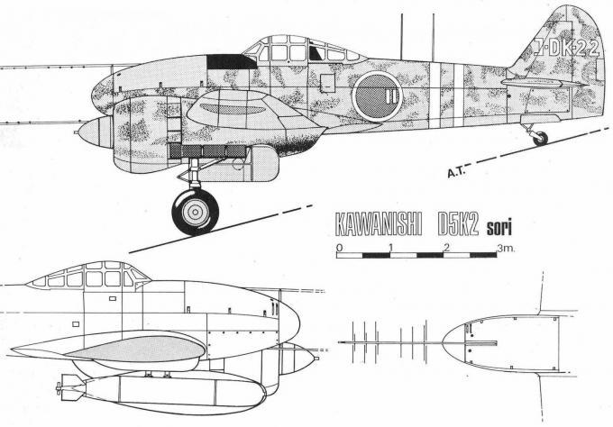 Альтернативный опытный палубный пикирующий бомбардировщик/торпедоносец kawanishi d5k2 sori. япония