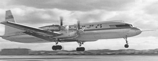 Дальнемагистральный пассажирский самолет ил-18.