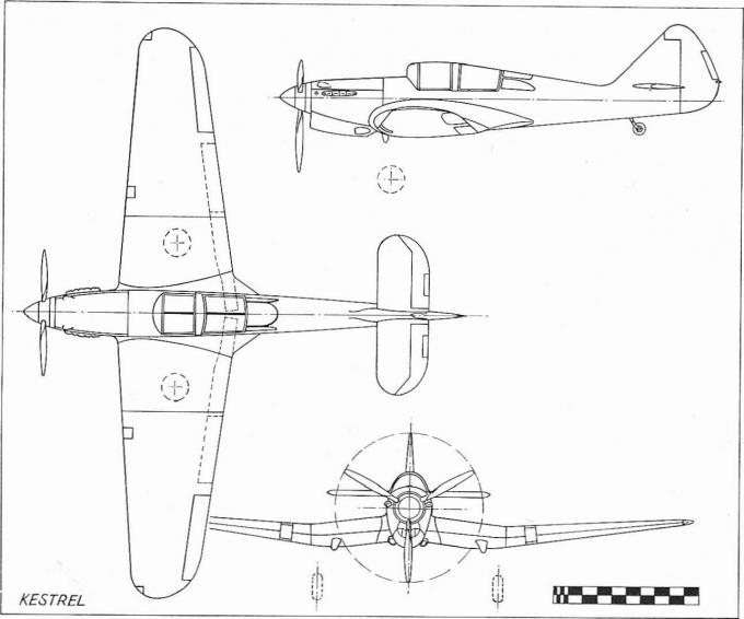 Экспериментальный самолет и учебно-тренировочный самолет для повышенной летной подготовки miles m.9 kestrel. великобритания