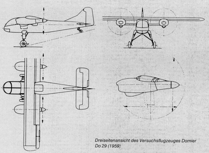 Экспериментальный самолет сввп/сквп dornier do 29. германия