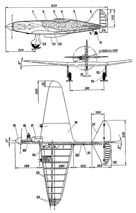 Контурная кордовая модель – копия самолета миг-3