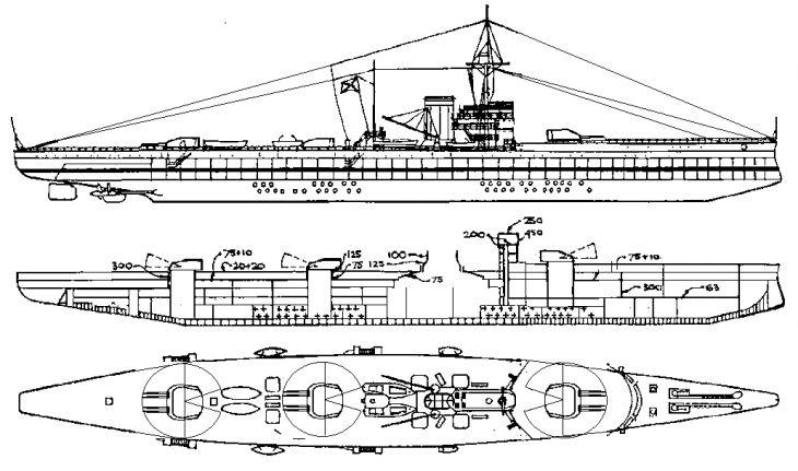 Корабли были 4-х орудийны. нереализованные проекты исполинов