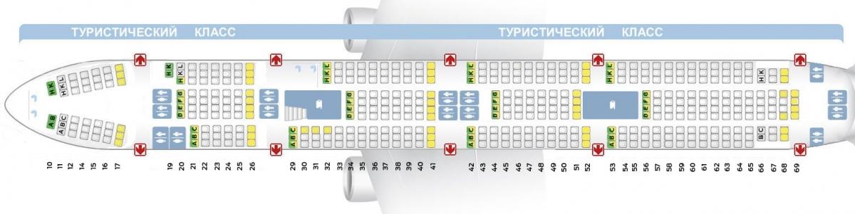 Лучшие места и схема салона самолета boeing 747-400 - трансаэро (522 места)