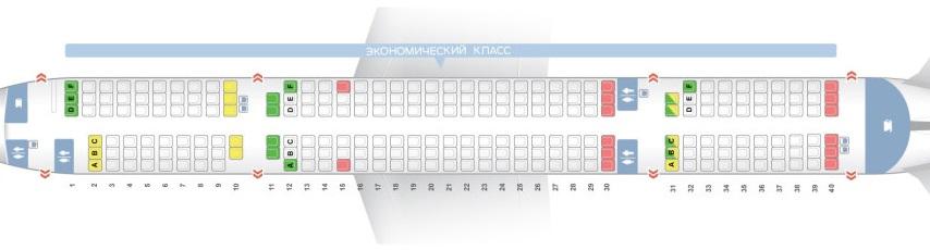 ✈ самолет boeing 757-200: нумерация мест в салоне, схема.