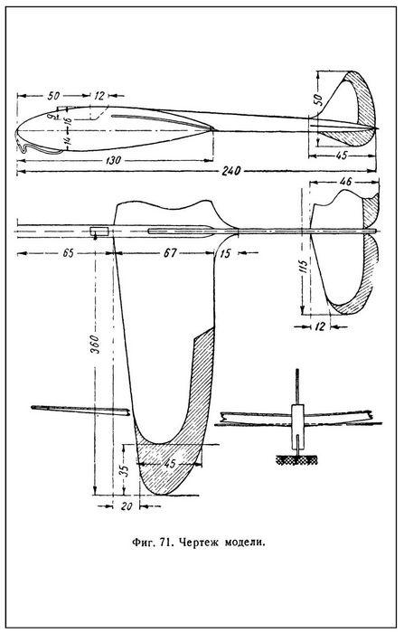 Модель планера для запуска с катапульты