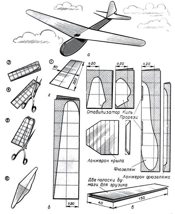 Модель планера из бумаги с подкосами