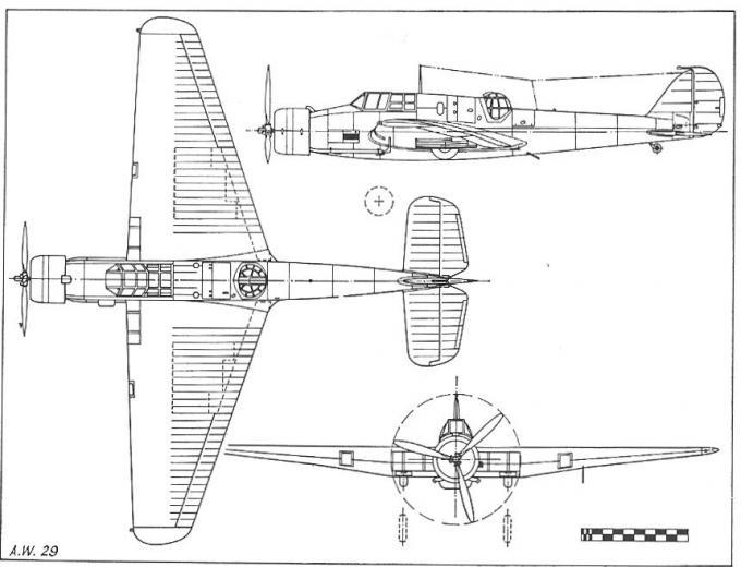 Несколько прототипов мирного времени. опытный легкий бомбардировщик a.w.29. великобритания