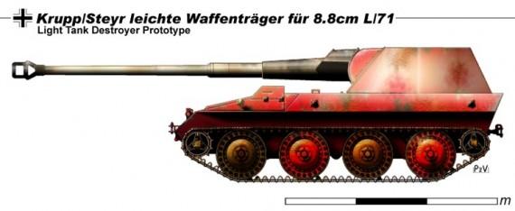 Опытная сау krupp-steyr waffentrager 8.8cm kwk 43 l/71. германия