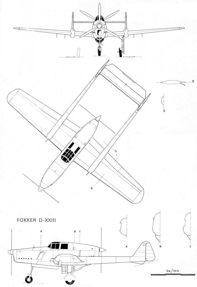 Опытный истребитель fokker d-xxiii. нидерланды
