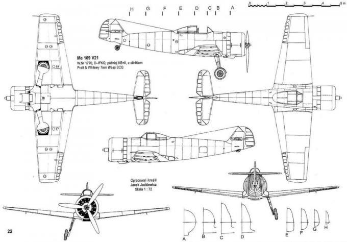 Опытный истребитель с двигателем воздушного охлаждения bf 109 x. германия