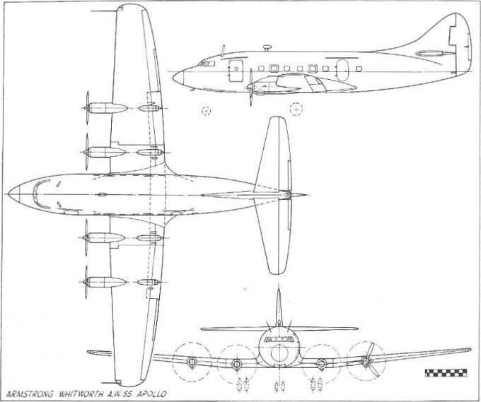 Опытный пассажирский самолет armstrong-whitworth a.w.55 apollo. великобритания