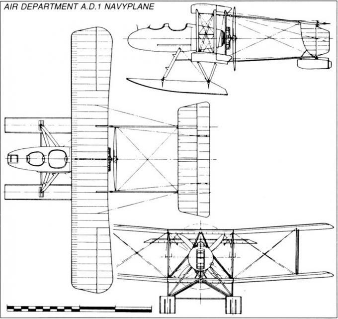 Опытный поплавковый бомбардировщик-разведчик air department a.d.1 navyplane. великобритания