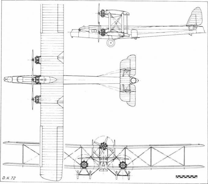 Опытный тяжелый дальний ночной бомбардировщик de havilland d.h.72. великобритания