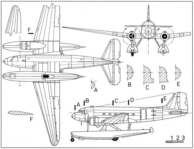 Опытный транспортный гидросамолёт douglas xc-47c skytrain. сша