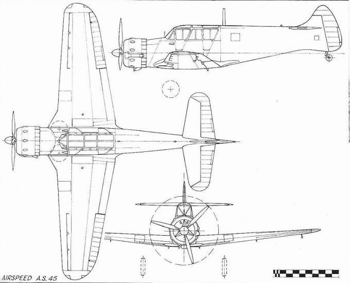 Опытный учебно-тренировочный самолет airspeed as.45 cambridge. великобритания