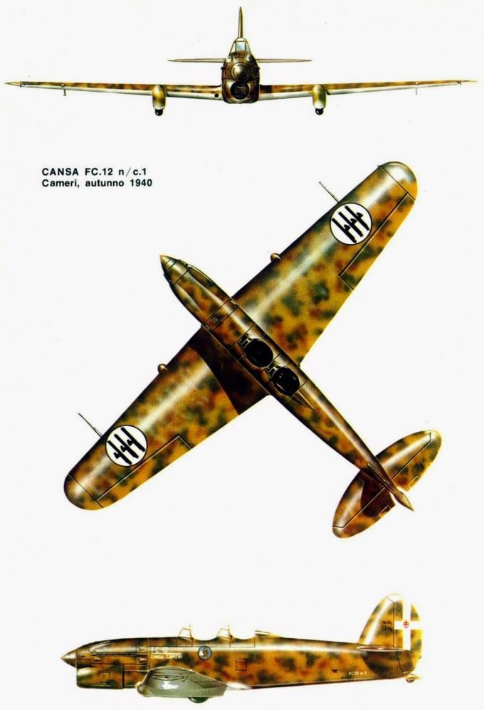 Опытный учебный самолет и пикирующий бомбардировщик cansa/fiat fc.12. италия