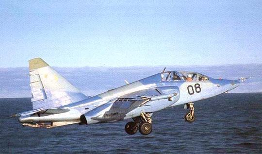 Палубный учебно-тренировочный самолет су-25утг.
