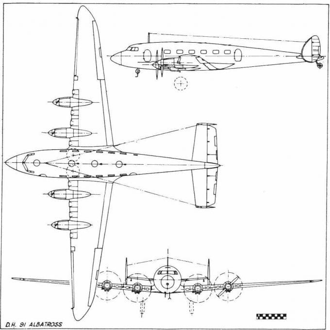 Пассажирский самолет de havilland d.h.91 albatross. великобритания