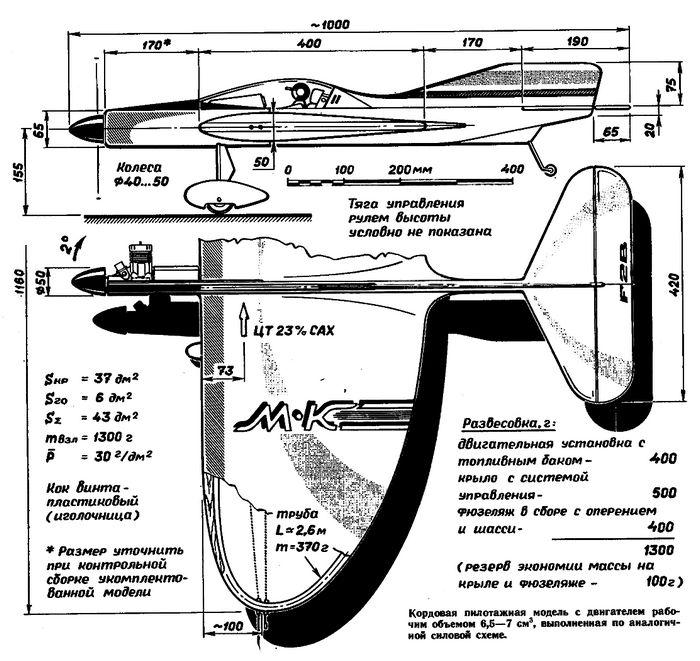 Пилотажная кордовая учебно – тренировочная модель самолета «экстра»