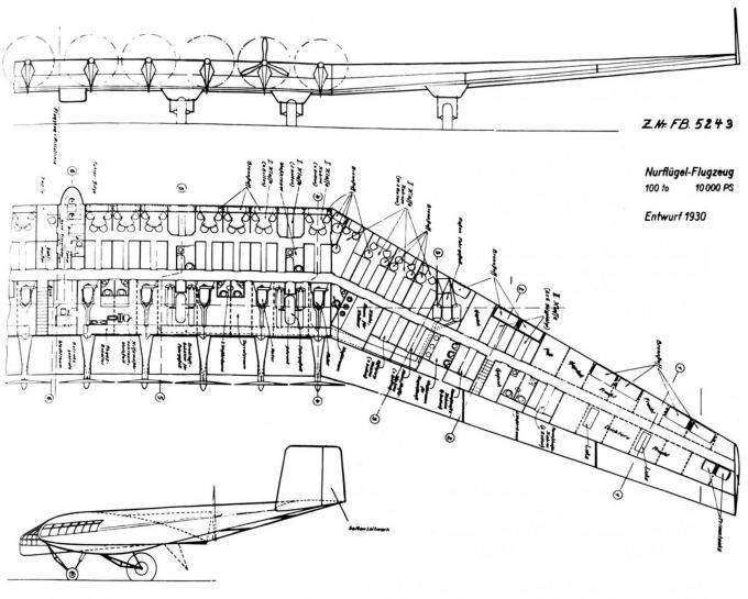 Проект 100-тонного самолета схемы «летающее крыло» компании junkers
