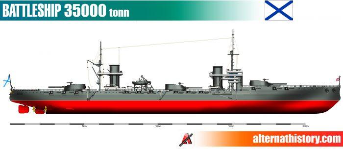 Проект линейного корабля водоизмещением 35000 тонн. российская империя