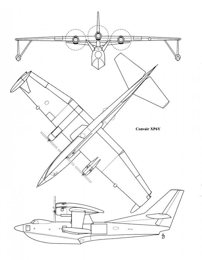 Проект патрульной и противолодочной летающей лодки convair p6y. сша