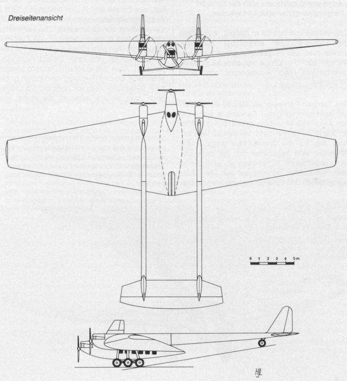 Проект первого трехмоторного самолёта компании junkers