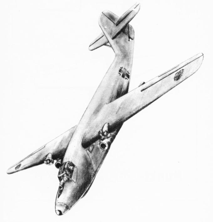 Проект самолета для выполнения вертикальной посадки go 345. германия