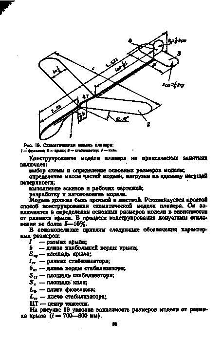 Простая схематическая модель планера