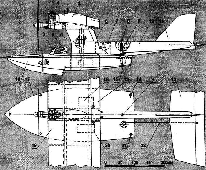 Радиоуправляемая модель гидросамолета типа «летающая лодка»
