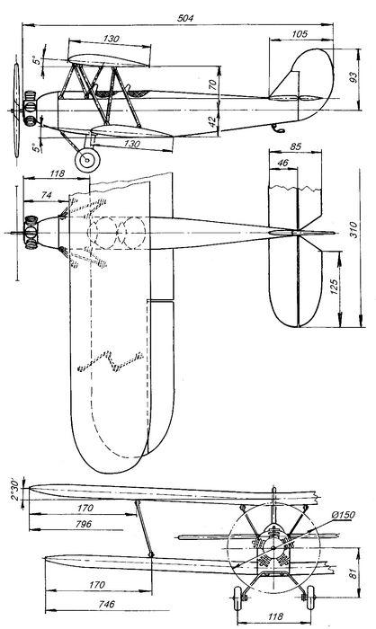 Радиоуправляемая полукопия модели самолета по-2 с электродвигателем