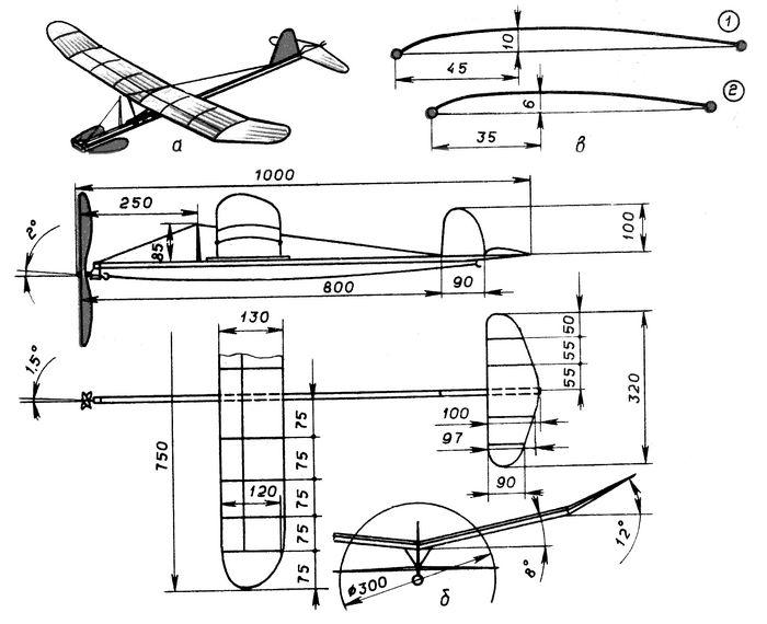 Резиноматорная схематическая модель самолета ласточка
