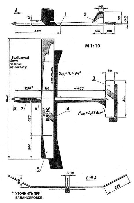 Резиноматорный планер класса в1