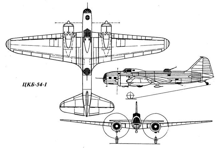 Самолет сопровождения цкб-54.