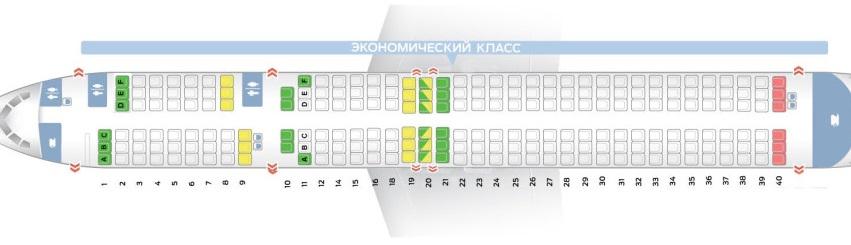 Схема салона, лучшие места boeing 757-200 — вим-авия