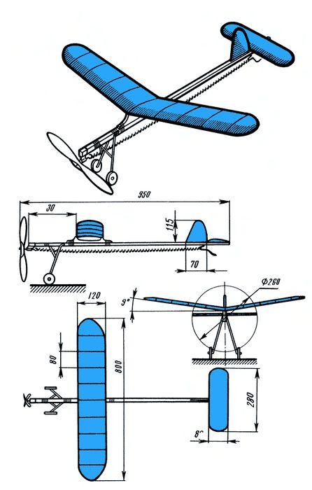 Схематическая резиномоторная модель самолета